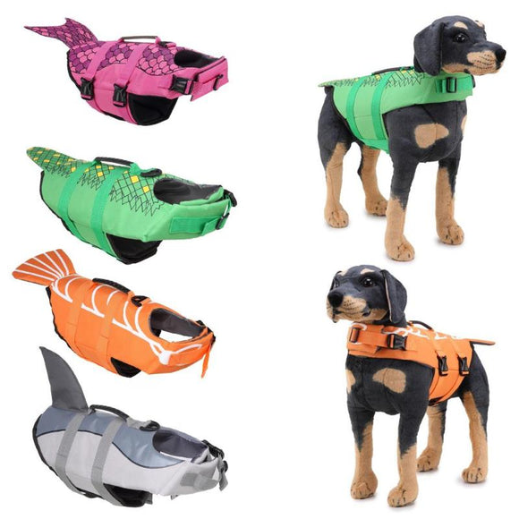 Dog Life Jacket Pet Saver Life Vest Puppy Swimming Preserver Shark Golden Retriever