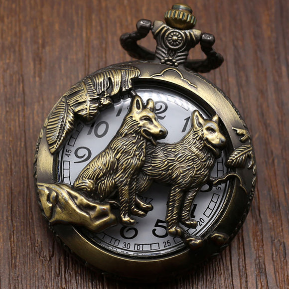 Men's Pocket Watch, Pocket Watch Bronze Wolf Dog Hollow Quartz Pocket Watch, Gifts for Men