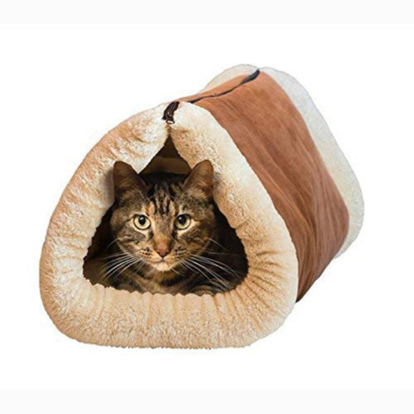 Kwcake Deluxe 2 in 1 Tube Cat Mat and Bed, Large Pet Bed with Self-heating Thermal Core Furniture&Carpets Fur-free Warm House for Cat/Puppy, Plush Pet Accessories