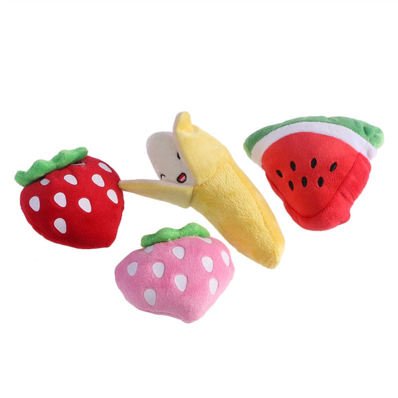 4pcs Pet Products Plush Toys Dog Chew Toys Pet Cats Cute Biting Sound Squeaky Toys Fruit Design