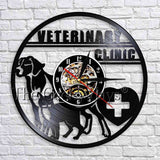1Piece Veterinary Climic Wall Art Decor Dog Cat Pet Animal 3D Watches Modern Design Wall Clock Vintage Vinyl Record Wall Clock