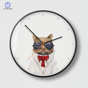 Exquisite Metal Frame Mute Wall Clock For Decor Modern Minimalist Dog Cat Animal Pattern Wall Clock Kitchen Watches