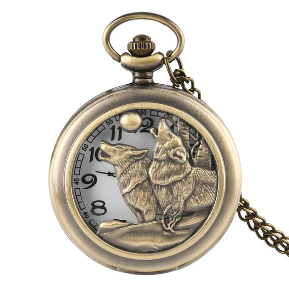 Quartz Pocket Watch Hunter Dog Playing Hollow Pocket Watch for Men Retro Pocket Watch Birthday Gift