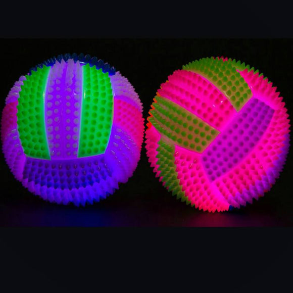 Lighting Dog Toy Rubber Balls Dog Cat Pet Interactive Squeak Ball Toys