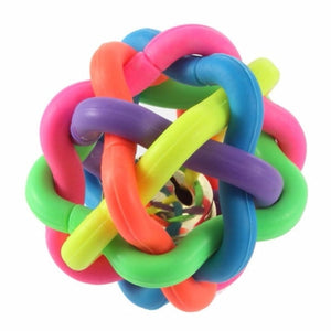 Useful Pet Colorful Ball Dog Cat Toy Colorful Rubber Round Ball with Small Bell Toy Pet Dog For Puppy