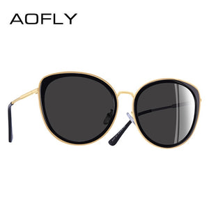 AOFLY BRAND DESIGN New 2019 Cat Eye Sunglasses Women Gradient Lens Polarized Sunglasses Female Metal Temple Goggles UV400 A111