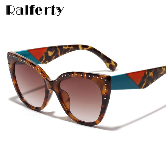 Ralferty Luxury Cat Eye Sunglasses Women 2019 Brand Designer Vintage Sun Glasses Female Leopard UV400 Shades oculos de sol W005