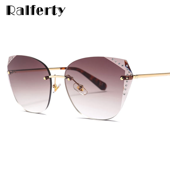 Ralferty Luxury Designer Sunglasses Women 2019 High Quality Crystal Sun Glasses UV400 Gradient Shades Oculo lunette femme W23071