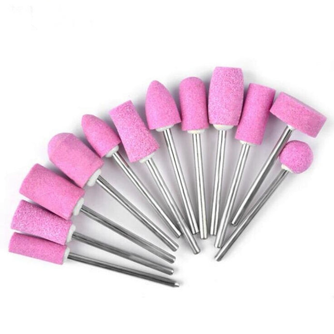 12PCS Quartz Pink Nail Polishing Drill Set