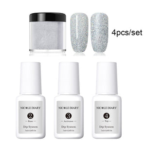 4Pcs/Set Nail Art Dipping Powder Natural dry