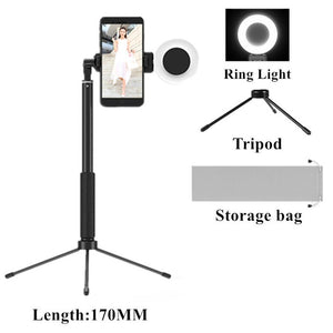 Extendable Tripod Selfie Stick with LED Ring light