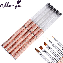 Load image into Gallery viewer, Nail Art Metal Acrylic Liquid Powder Carving UV Gel Extension Builder French Flower Stripe Painting Drawing Liner Brush