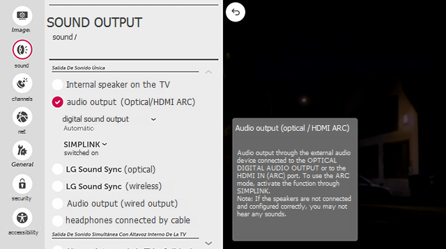 LG TV Sound Output Settings Page