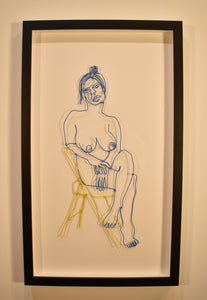 Blue Wire Figure on Yellow Chair