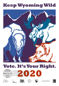 Wyoming Get Out The Vote Poster by Amy Rattner