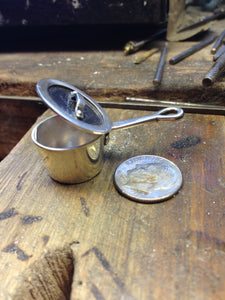 Lidded pot sterling silver keychain