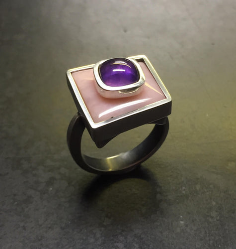 Amethyst stone-on-stone ring
