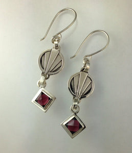 Winnow sterling silver earrings with garnets