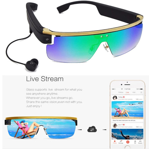 Smart Glasses, Photo, Videos, Music, Live Streaming And Social Sharing With Voice control and Touch control