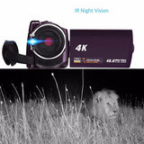 Ultra HD 60 FPS 4K Video Camera, Night Vision, LCD Touchscreen