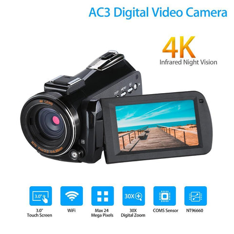 24MP, 4K Digital Camera With Infrared Night Vision, 3
