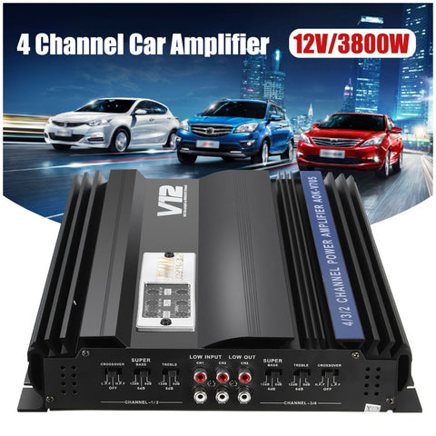 12V/3800W 4 Channel Car Audio Amplifier