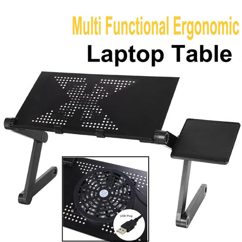 Strong And Multi Functional - Foldable Laptop Stand With 2 USB Fans and Mouse Pad