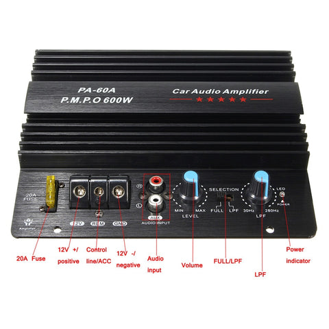 12V/600W Powerful&Compact Car Audio Amplifier For Subwoofer