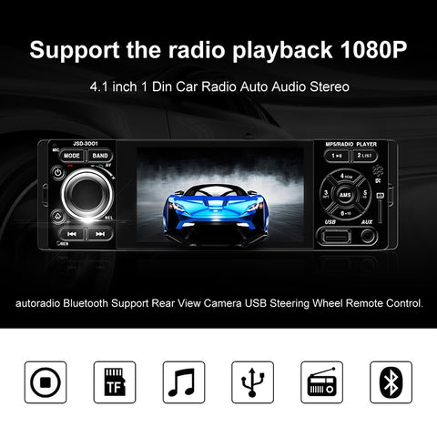 12v Car Stereo Player, 4.1 inch HD Touch Screen