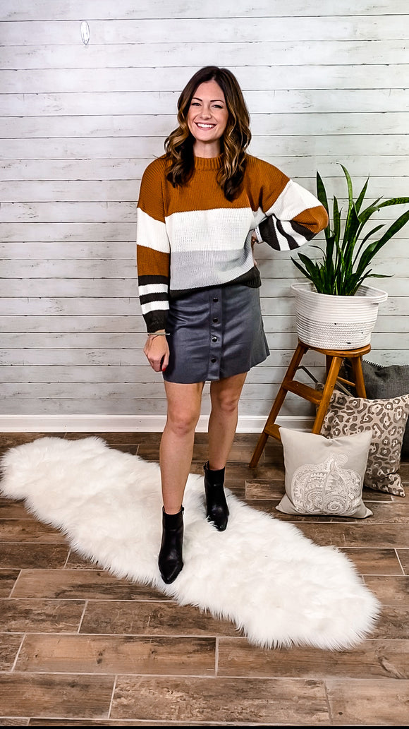 Button Up Suede Mini Skirt
