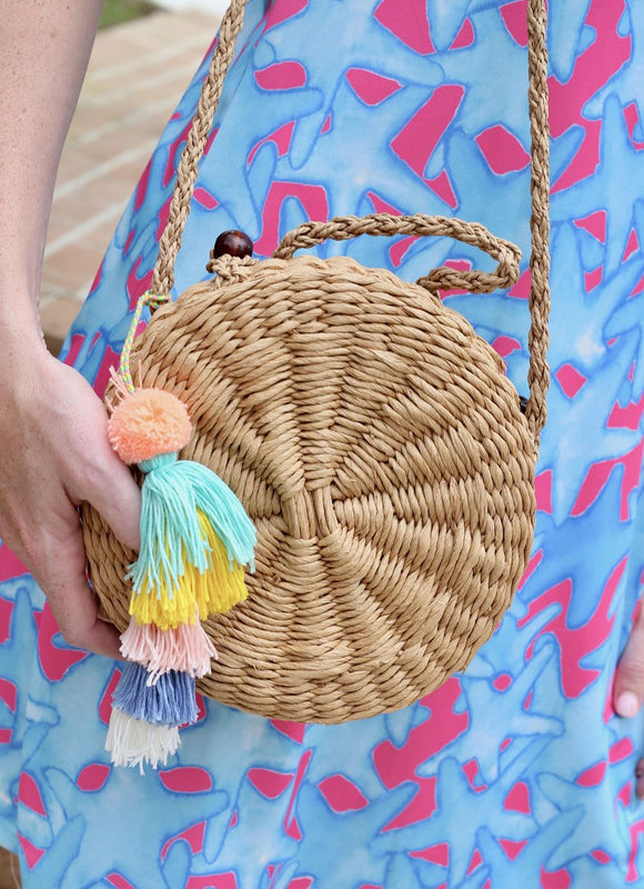Tassel Straw Crossbody Bag