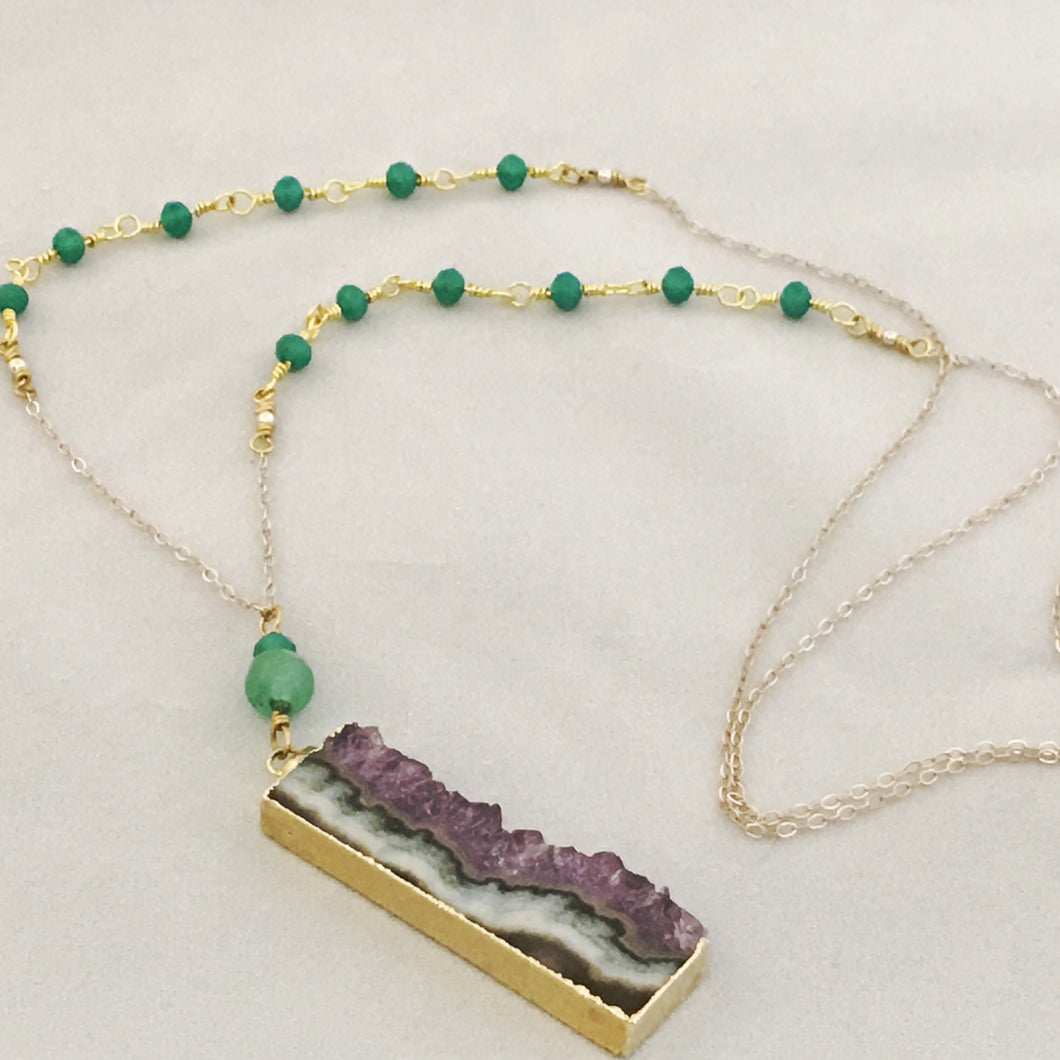 Long Amethyst & Jade Dream Manifestation Necklace