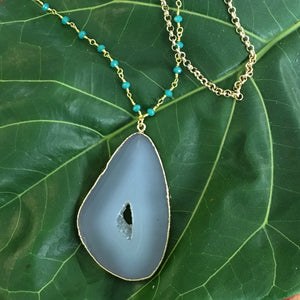 LONG: Druzy Agate Slice with Jade and Gold Chain
