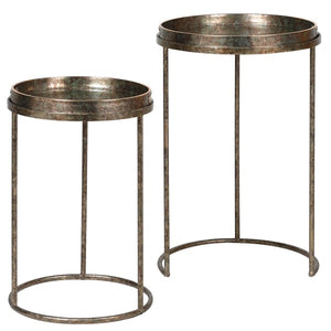Set of 2 Mirrored Fern Pattern Tray Tables