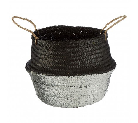 Black / Silver Medium Seagrass Basket