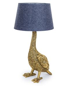 Antique Gold Goose Table Lamp with Grey Shade