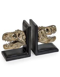 Pair of Dinosaur Skull Bookends on Black Bases