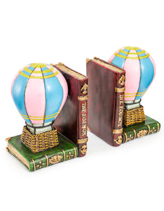 Antiqued Hot Air Balloon Pair of Bookends