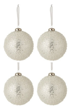 Christmas Baubles Pearl Glass