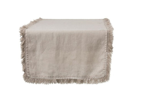 TABLE RUNNER FRINGE LINEN BEIG