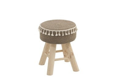 STOOL ROUND WOOD/JUTE NATURAL (35x30x41cm)