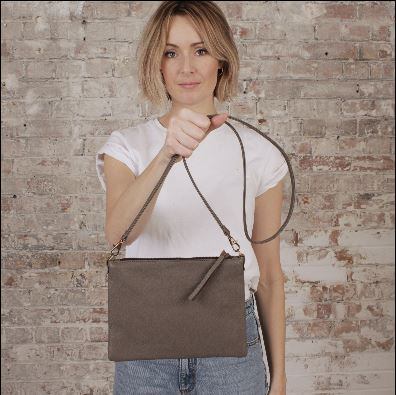 Atilo Leather Shoulder Bag Taupe Grey