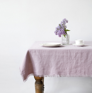 Pink Lavender Tablecloth with Fringes