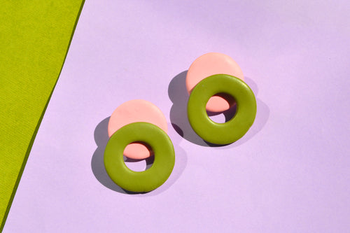 Pink and Green Loop Studs