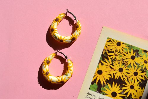 Sunflower Hoop Earrings