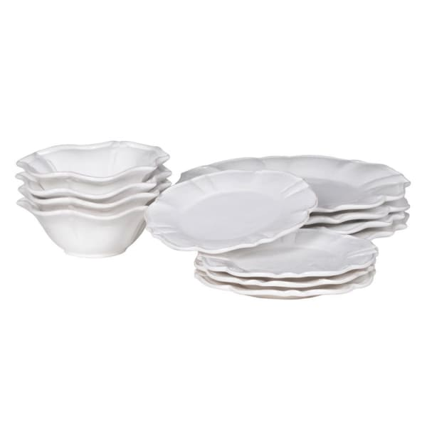 12 Piece Scalloped White Dinner Set