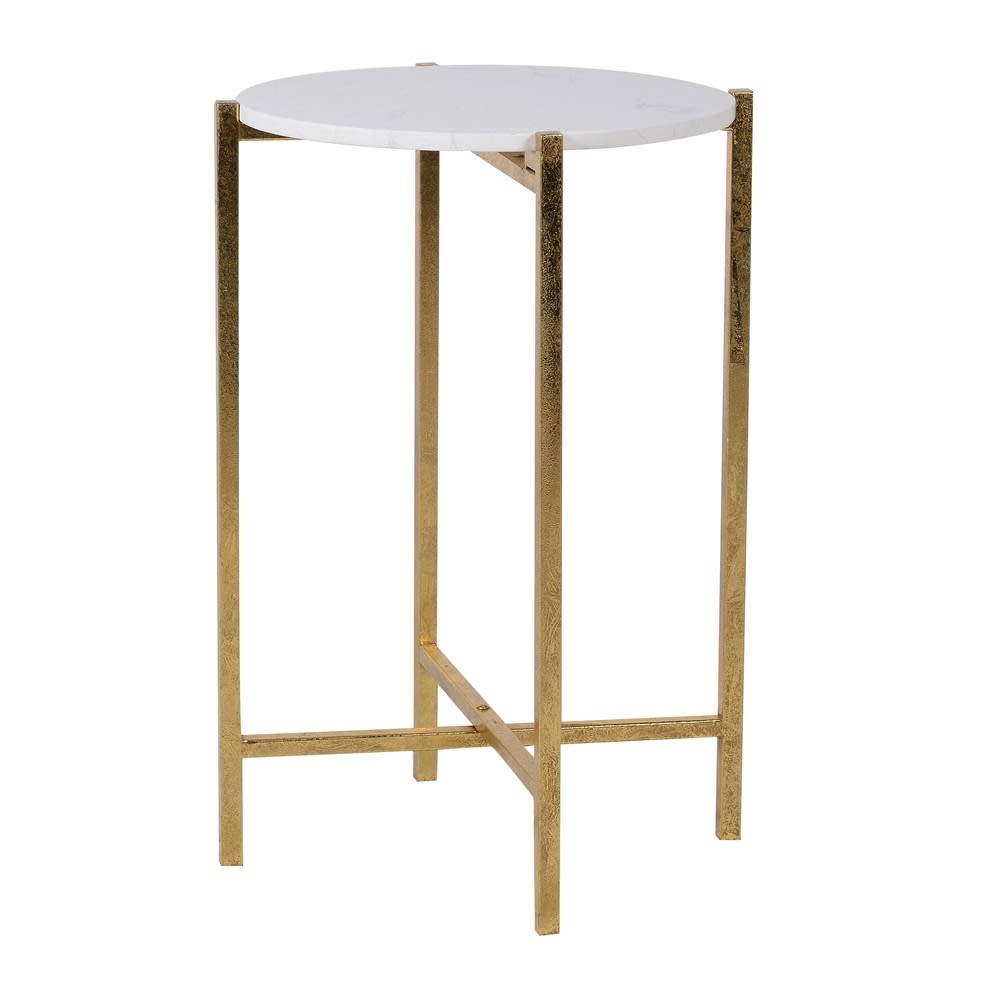 Faux Marble Top Gold Side Table