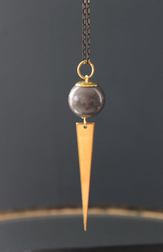 Kaiko Simple Concrete and Brass Necklace