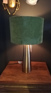 Brass Column Table Lamp with Velvet Shade
