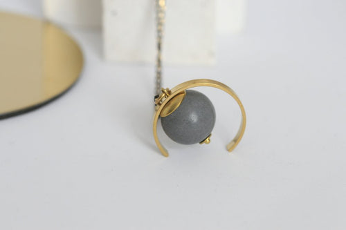 Kaiko Minimalist Concrete and Brass Necklace